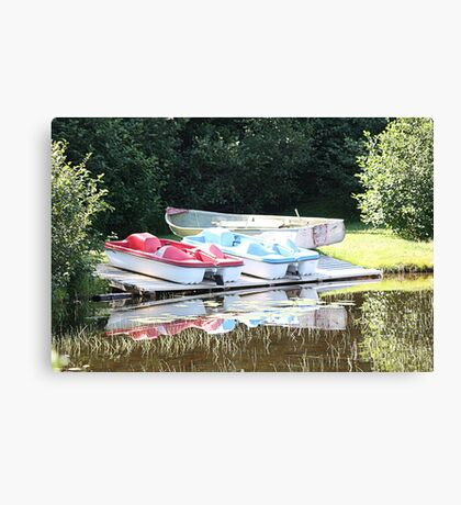 Cabot Cove Lake Paddle Boats & Dorry Canvas Print