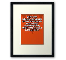 Do paranoid schizophrenic agnostic dyslexic insomniacs lie awake at night wondering if they might be the dog that's out to get them? Framed Print