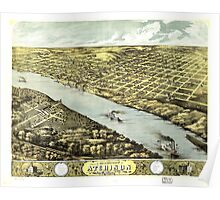 Bird's Eye View of the City of Atchison Kansas 1869 Poster