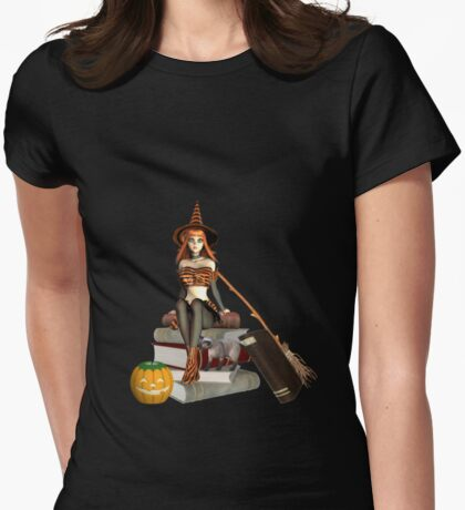 Halloween Witch Womens Fitted T-Shirt