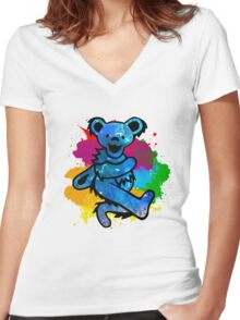 Grateful Dead Bear Women's Fitted V-Neck T-Shirt