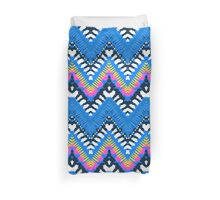 Bohemian print with chevron pattern in blue colors Duvet Cover