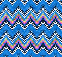 Bohemian print with chevron pattern in blue colors by tukkki