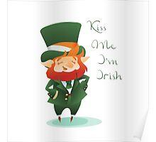 Kiss Me I'm Irish with cute chibi cartoon Leprechaun Poster