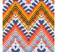 Bohemian print with chevron pattern in natural warm colors Photographic Print