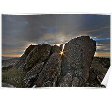 Sunrise between the rocks Poster