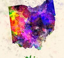 Ohio US state in watercolor by paulrommer
