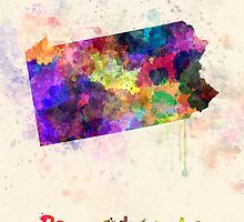 Pennsylvania US state in watercolor by paulrommer