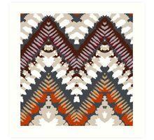 Bohemian print with chevron pattern in light brown colors Art Print