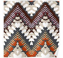 Bohemian print with chevron pattern in light brown colors Poster