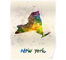 New York US state in watercolor Poster