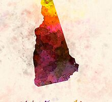 New Hampshire US state in watercolor by paulrommer