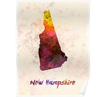 New Hampshire US state in watercolor Poster