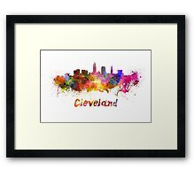 Cleveland skyline in watercolor Framed Print