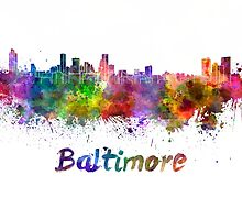 Baltimore skyline in watercolor by paulrommer