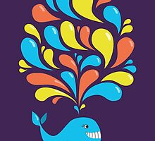 Colorful Swirls and Happy Cartoon Whale by Boriana Giormova