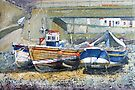 Cobles Under the Bridge, Staithes by Sue Nichol
