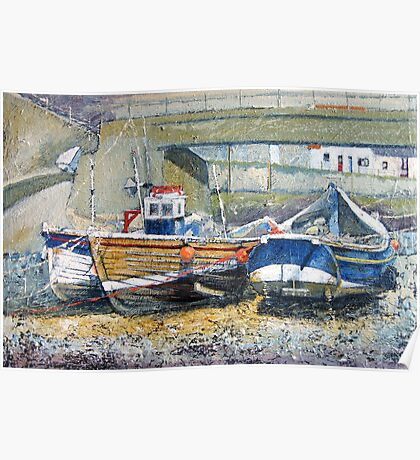 Cobles Under the Bridge, Staithes Poster