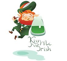 Kiss Me I'm Irish with cute chibi cartoon Leprechaun by Ryna Synentchenko