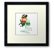 Kiss Me I'm Irish with cute chibi cartoon Leprechaun Framed Print