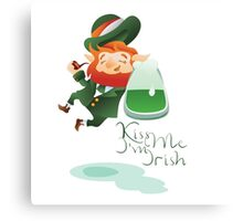 Kiss Me I'm Irish with cute chibi cartoon Leprechaun Canvas Print