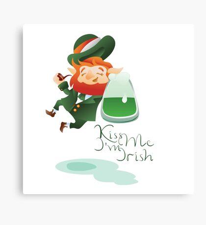 Kiss Me I'm Irish with cute chibi cartoon Leprechaun Canvas Print
