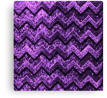 Cute Purple Glitter Chevron Pattern Canvas Print