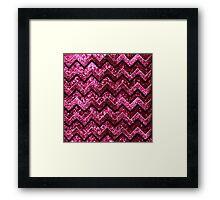Cute Pink Chevron Glitter Pattern Framed Print