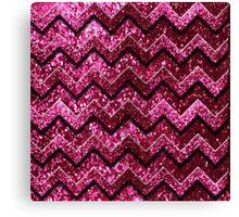 Cute Pink Chevron Glitter Pattern Canvas Print