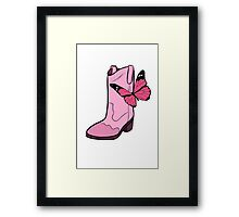 Pink Cowgirl Boot & Butterfly Framed Print