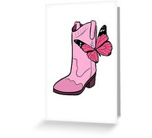 Pink Cowgirl Boot & Butterfly Greeting Card