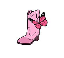 Pink Cowgirl Boot & Butterfly Photographic Print