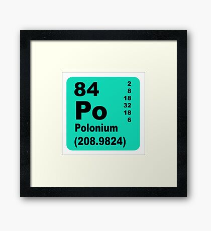 Polonium periodic table of elements Framed Print