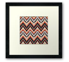 Bohemian print with chevron pattern in organic retro colors Framed Print