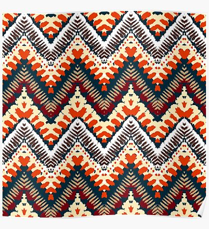 Bohemian print with chevron pattern in organic retro colors Poster