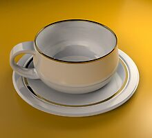 Cup & Saucer - 3d Computer Generated Image by Ivan Horvath
