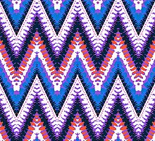 Bohemian print with chevron pattern in purple by tukkki