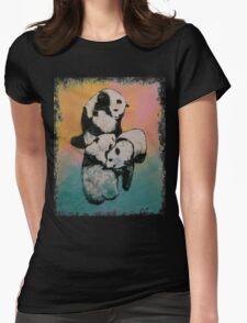 Panda Street Fight Womens Fitted T-Shirt
