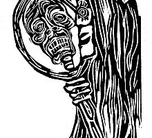 Skeleton Woman Looking in Mirror by Candace Byington