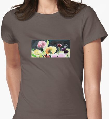 Pink & Yellow Flowers Womens Fitted T-Shirt