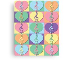 Treble Clefs and Hearts Canvas Print