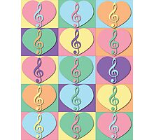 Treble Clefs and Hearts Photographic Print