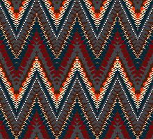 Bohemian print with chevron pattern in dark colors by tukkki