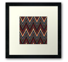 Bohemian print with chevron pattern in dark colors Framed Print