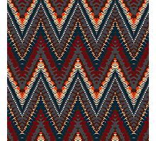 Bohemian print with chevron pattern in dark colors Photographic Print