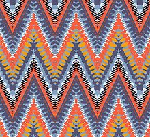 Bohemian print with chevron pattern in cool colors by tukkki