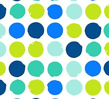 Print with randomly colored circles in bight blue green colors by tukkki