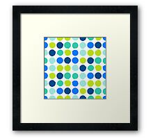Print with randomly colored circles in bight blue green colors Framed Print