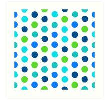 Polka dot print in blue green colors Art Print