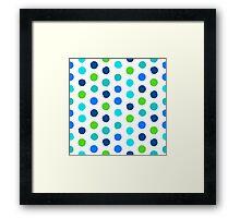 Polka dot print in blue green colors Framed Print